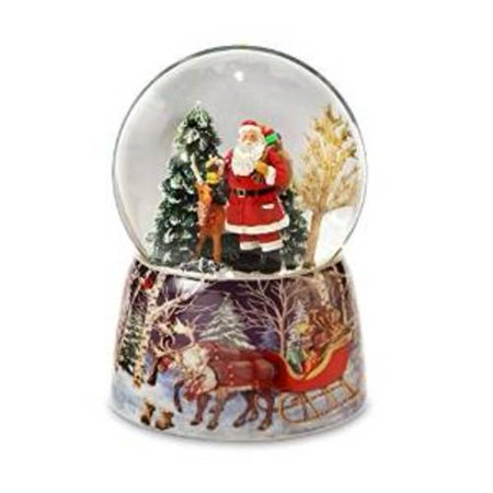 Santa and Reindeer Snow Globe by The San Francisco Music Box Company Multi-Colored
