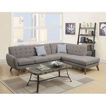 Simple Relax Modern 2 PCS Sectional Sofa Couch Chaise Tufted Back Grey  Linen-like Fabric