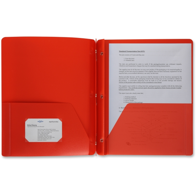 "Business Source 3-Hole Punched Poly Portfolios - Letter - 8 1/2"" x 11"" Sheet Size - 50 Sheet Capacity - 3 x Prong Fastener(s) - 2 Pocket(s) - Poly - Red - 1 Each"