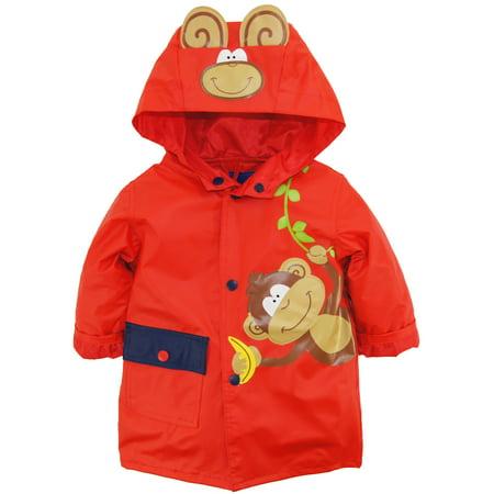 Wippette Baby Boys Rainwear Vinyl Cute Monkey Adventure Raincoat