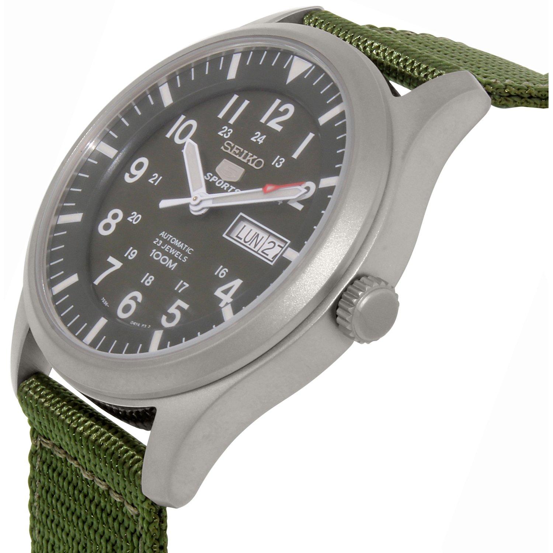 d05a9e1fea0 Seiko Men s 5 Automatic SNZG09K Green Nylon Automatic Fashion Watch ...