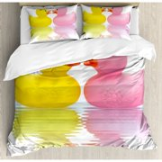 Ambesonne Rubber Duck Couple in Love Romantic First Love Childhood Kids Theme Duvet Cover Set
