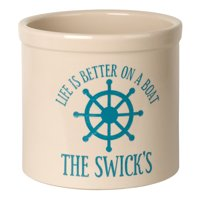 Personalized Life Is Better On A Boat 2 Gallon Stoneware Crock