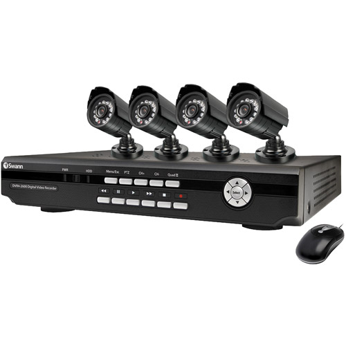 SWANN SWDVK-825504-US 8-Channel DVR with 4 Indoor/Outdoor Day/Night-Vision CCD Cameras
