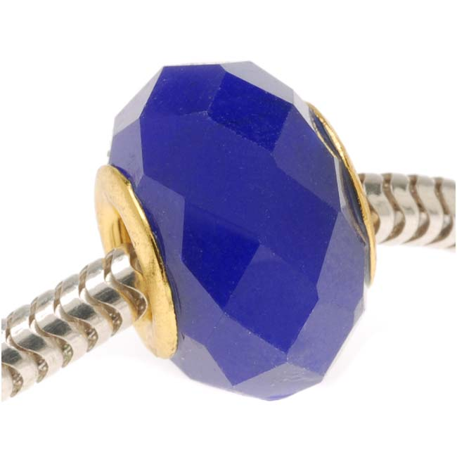Faceted Glass European Style Large Hole Bead - Cobalt Blue 14mm Gold Tone Grommet (1)