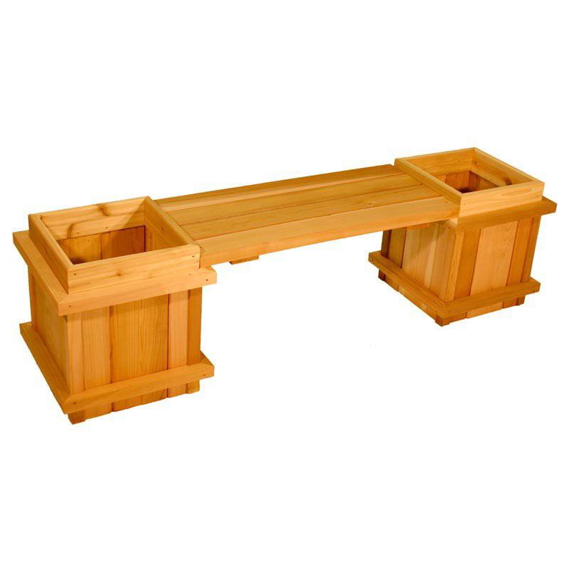 Aquila Square Cedar Wood 3-Piece Planter Bench Set