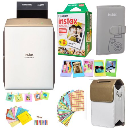 Fujifilm INSTAX SHARE SP-2 Smart Phone Printer (GOLD) + Fuji Instax Film Mini Twin Pack (20PK) + Fuji Photo Album + Accessories Kit / Bundle + Fitted Case + Frames And More (Smart Phone Compatible Printer)