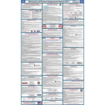2017 Minnesota State And Federal Labor Law Poster  Laminated