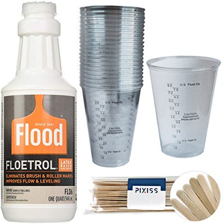 1 Quart Flood Floetrol Additive, 20x 10-Ounce Disposable Graduated Clear Plastic Cups for Mixing Paint, Stain, Epoxy, Resin, 20x 6-inch Pixiss Wood Mixing Sticks ()