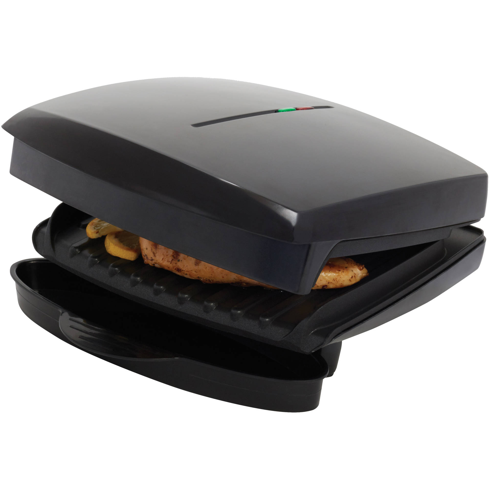 Mainstays Indoor Grill, Non-Stick, 45-sq in 2 Serving, Black