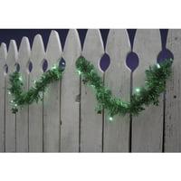 9' Pre-Lit Green Shamrock St. Patrick's Day Tinsel Garland - Green Lights