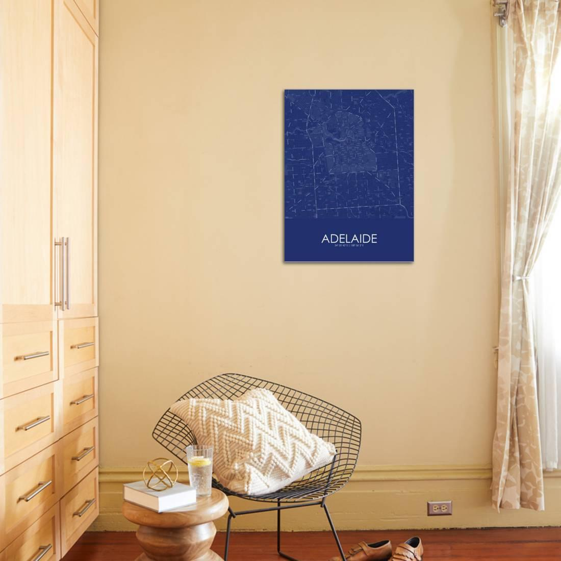 Adelaide, Australia Blue Map Stretched Canvas Print Wall Art ...