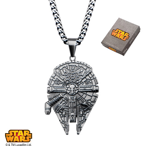 Disney Stainless Steel Star Wars Millennium Falcon Pendant, 24""