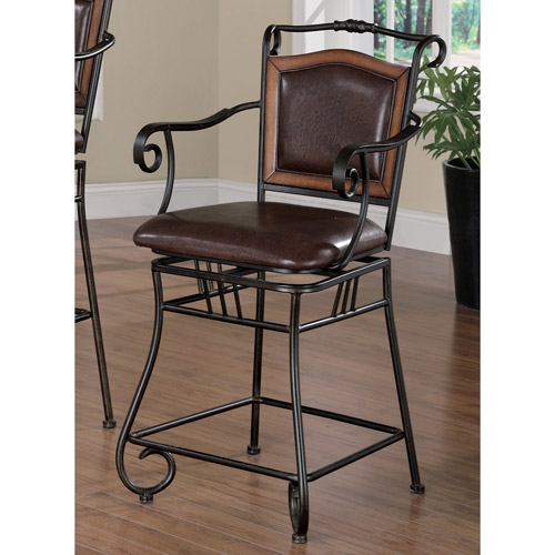 "Coaster 24"" Metal Counter  Stool with Wood in Black and Brown"