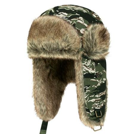 ililily Howels Camouflauge Faux Fur Lining Cotton Aviator Trapper Trooper Hat , Jungle