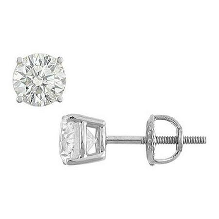 18K White Gold Round Diamond Stud Earrings 1.50 CT. TW. - image 1 of 2