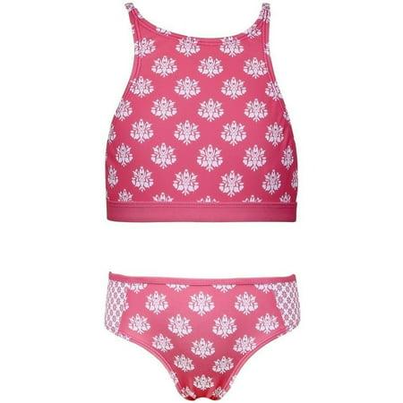1bb6dd92dd75d Sun Emporium - Sun Emporium Little Girls Coral Daisy Damask Halter 2 Pc Bikini  Swimsuit - Walmart.com