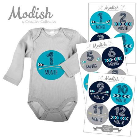 Modish Monthly Baby Stickers, Boy, Tribal, Arrows, Chevron, Aqua, Navy Blue, Gray, Baby Photo Prop, Baby Shower Gift, Baby Book Keepsake