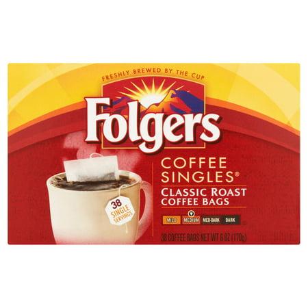 Folgers Coffee Singles Classic Roast Coffee Bags  38 Count  6 Oz