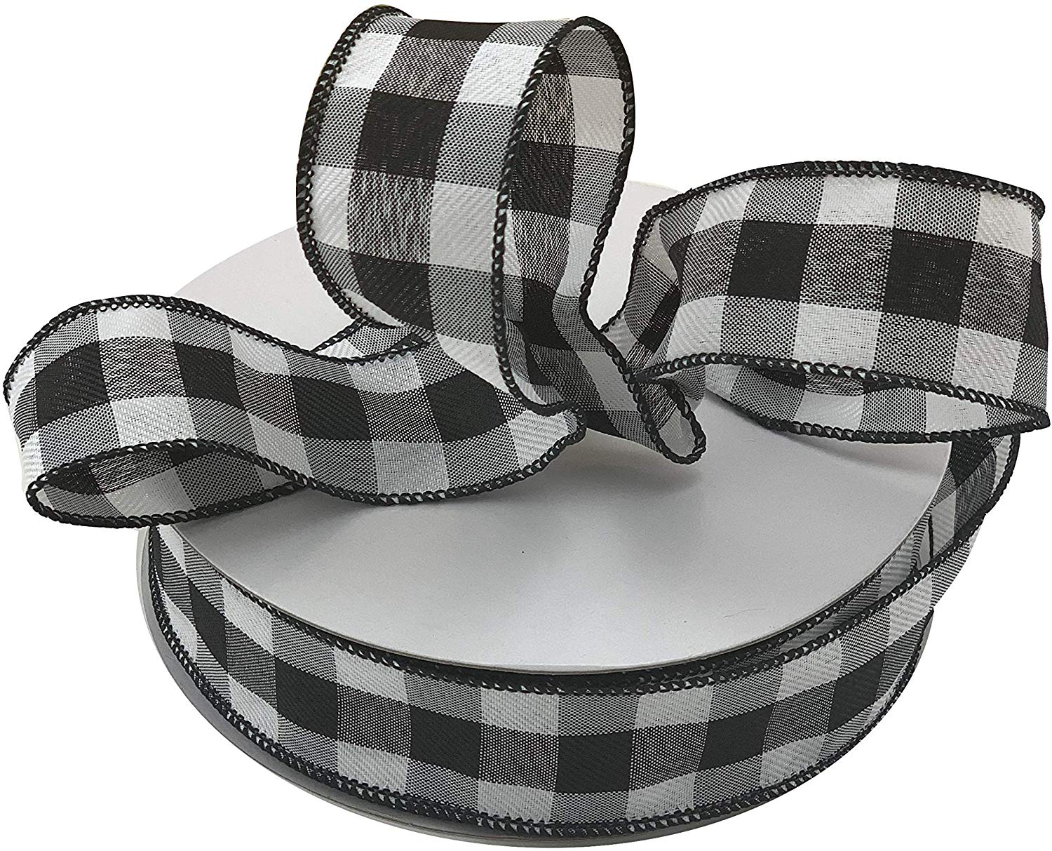 Black White Buffalo Plaid Ribbon 1 1 2 X 50 Yards Wired Edge Christmas Ribbon Wreath Farmhouse Decor Garland Presents Gift Basket Wrapping Ribbons For Crafts Walmart Com Walmart Com