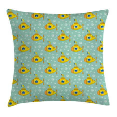 Yellow Submarine Decor Throw Pillow Cushion Cover, Nautical Design Illustration of a Submarine and Bubbles, Decorative Square Accent Pillow Case, 18 X 18 Inches, Seafoam Earth Yellow, by Ambesonne ()