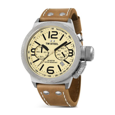 TW Steel Mens XXL Stainless Steel Case Canteen Brown Leather Beige Dial Silver Watch - CS14