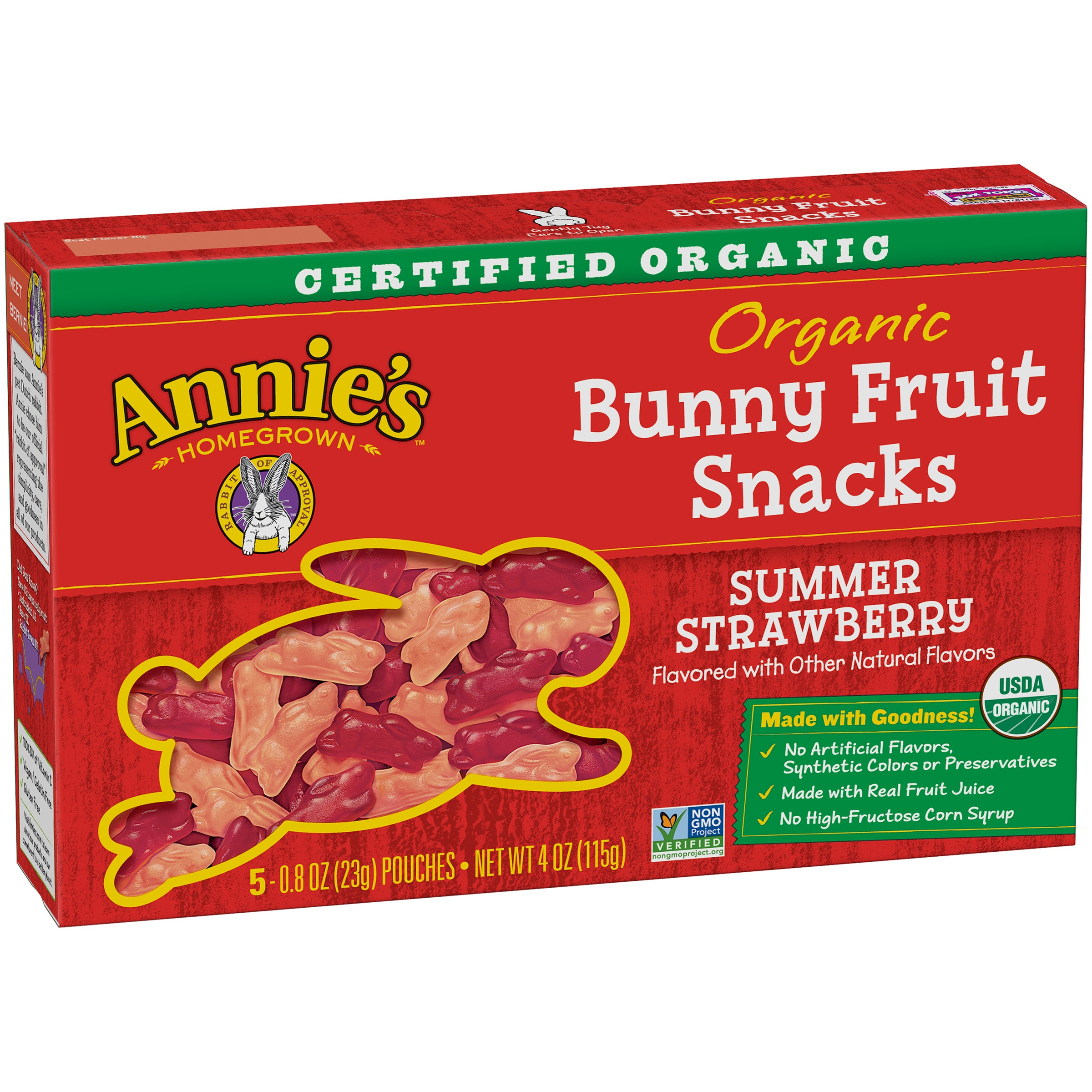 Annie's® Gluten Free Organic Bunny Summer Strawberry Fruit Snacks 5 ct 4 oz