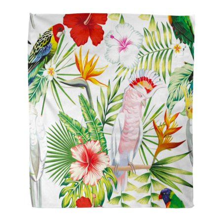 Tailed Tropic Bird - LADDKE Throw Blanket 58x80 Inches Tropic Exotic Multicolor Birds Parrot Macaw with Tropical Plants Banana Palm Leaves Warm Flannel Soft Blanket for Couch Sofa Bed