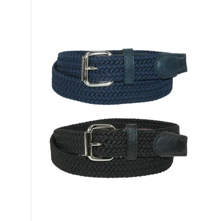 8 Kids Accessories Belts - CTM Kids' Elastic Braided Stretch Belt (Pack of 2 Colors)