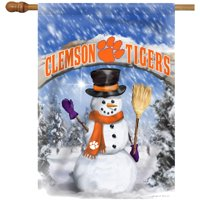 """Clemson Tigers 28"""" x 40"""" Christmas House Flag With Snowman And Broom"""