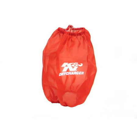 K&N Red Drycharger Round Tapered Air Filter Wrap 5in Top ID / 7.5in Base ID / 8in Height