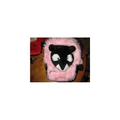 Mini Zoo MZ-115 Medium Pink Bag With Black Puma Face Minizoo Back Pack