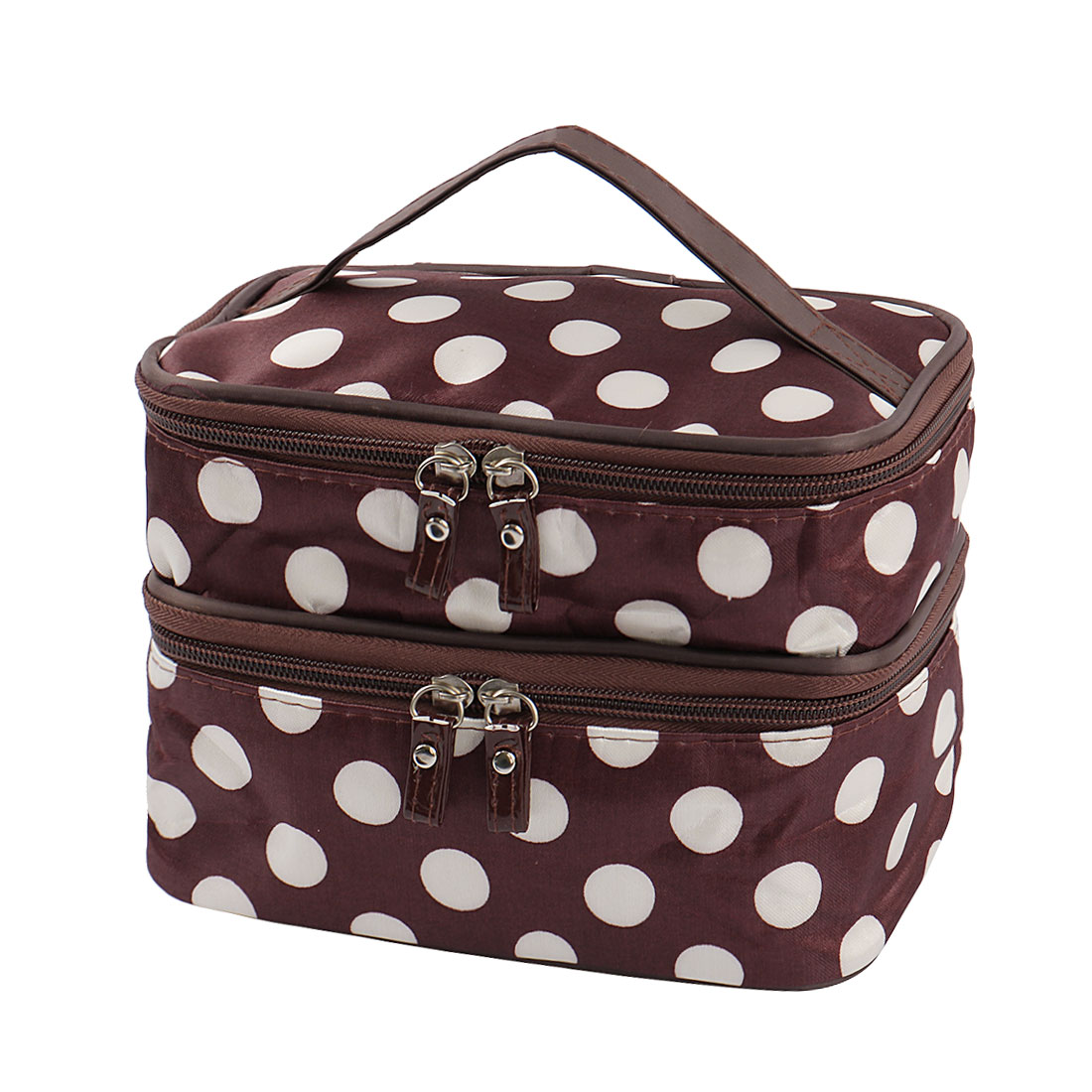 707e847ff761 Travel Cosmetic Makeup Bag Organizer Double Layer Dot Pattern Toiletry Bag  Case Pouch With Mirror For Woman - Walmart.com