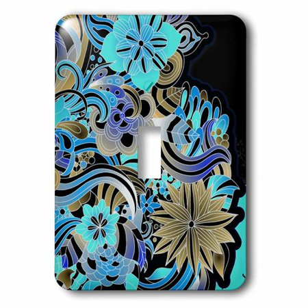 3dRose Bright Blue, Turquoise, and Tan Colored Sixties Style Graphic Flowers Design, Single Toggle Switch