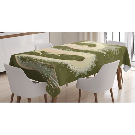 Dragon Decor Tablecloth, Chinese Style Reptile DragonEastern Culture Medieval Mythology Asia Pattern, Rectangular Table Cover for Dining Room Kitchen, 52 X 70 Inches, Green Yellow, by Ambesonne - Amscan Tablecloths