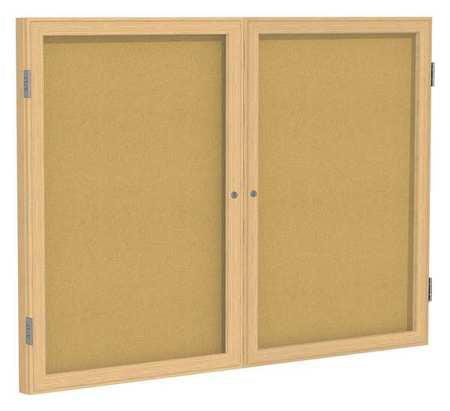 GHENT Enclosed Bulletin Board,Cork,36x48 In. PW23648K