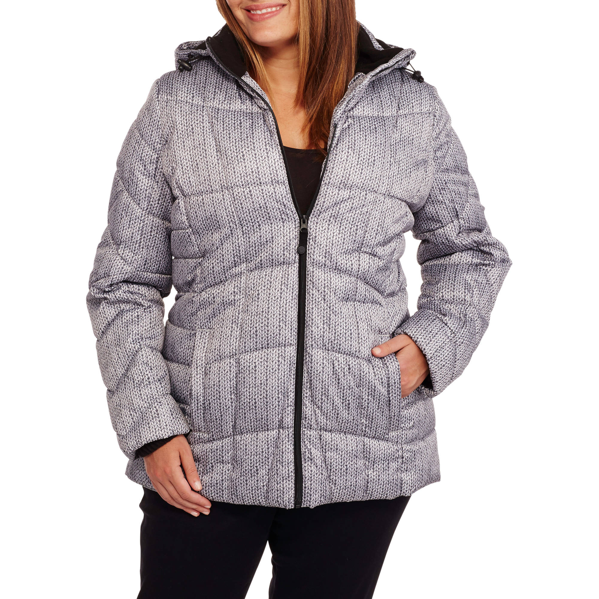 Faded Glory Women's Plus-Size Hooded Puffer Jacket Coat
