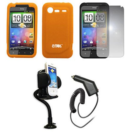 Empire Vents Mirror - EMPIRE Orange Silicone Skin Case Cover + 360 Degree Rotatable Car Windshield Mount with Air Vent Attachment + Mirror Screen Protector + Car Charger (CLA) for Verizon HTC Droid Incredible 2