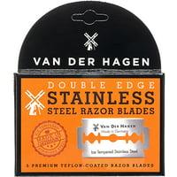 Van Der Hagen Premium Beard Care, Stainless Steel Double Edge Razor Blades, 5 Blades