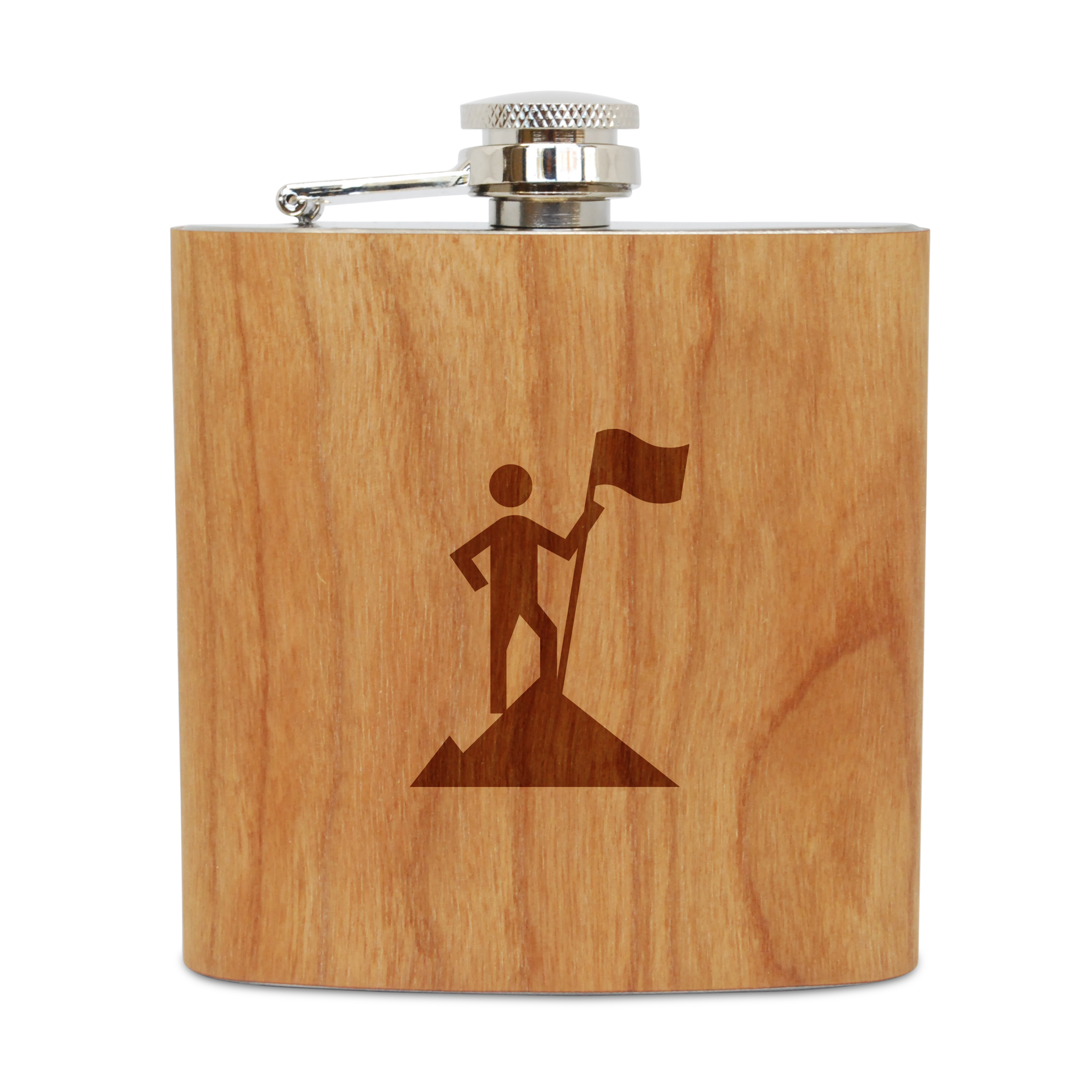 Conquerer 6 Oz Wooden Flask (Cherry), Stainless Steel Body, Handmade In Usa