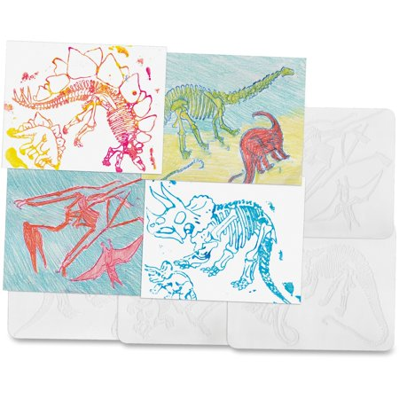 Roylco, RYLR5823, Dinosaur Shape Rubbing Plates, 6 / Pack, Clear