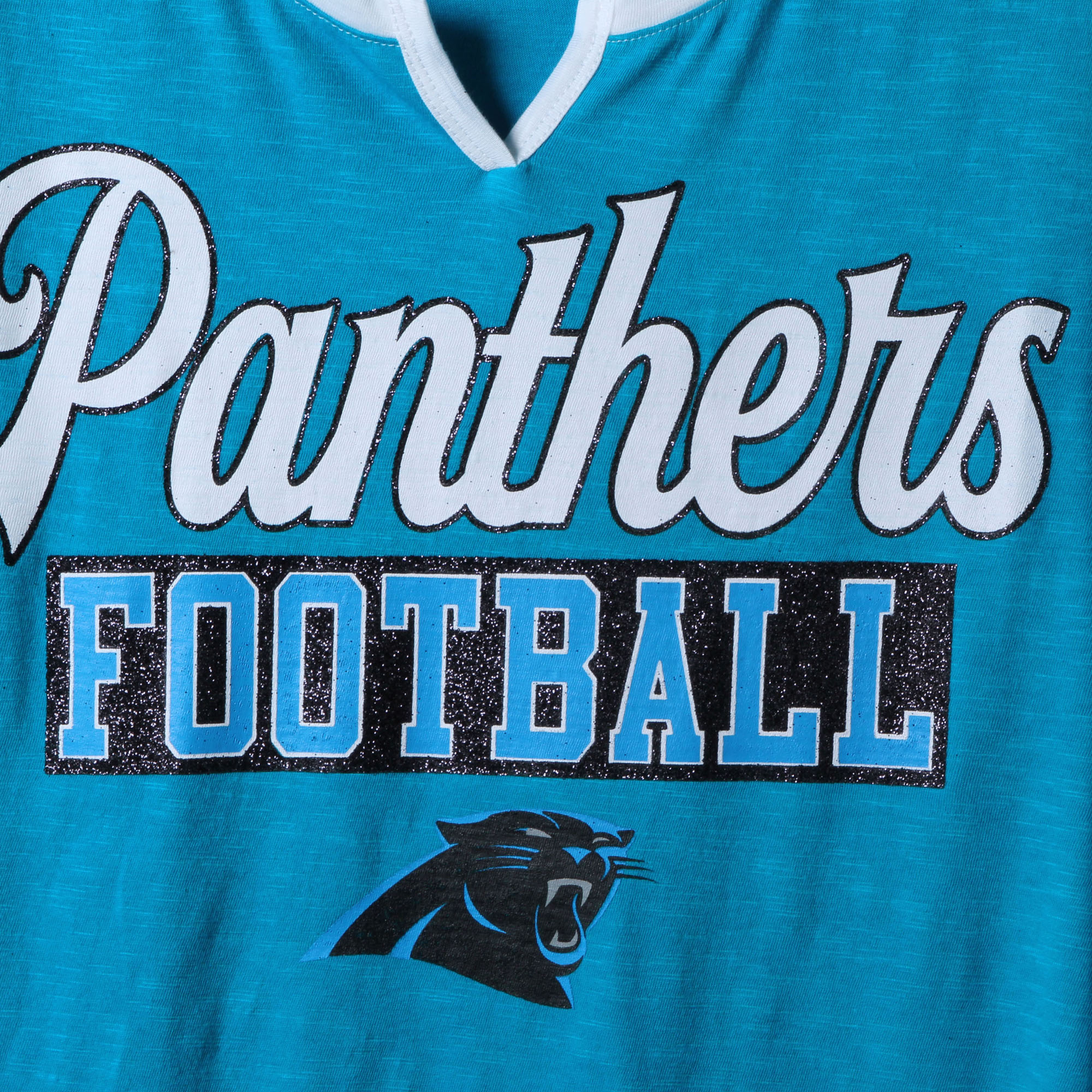 Carolina Panthers New Era Women s Glitter Slub 3 4-Sleeve Raglan V-Notch T- Shirt - Blue White - Walmart.com 76d5a6343