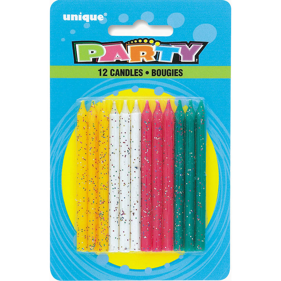 Birthday Candles, 2.5 in, Assorted Glitter, 12ct