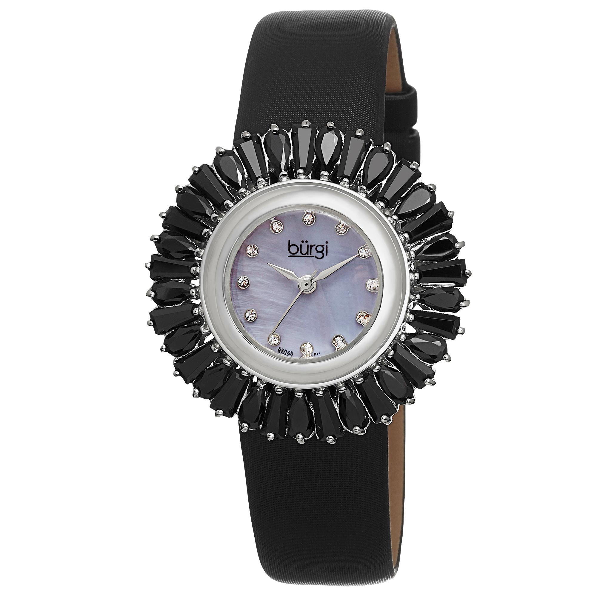 Burgi Women's Swiss Quartz Diamond Black Strap Watch by Burgi