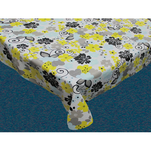 """Retro Garden"" 52"" x 70"" Vinyl Flannel Backed Tablecloth"