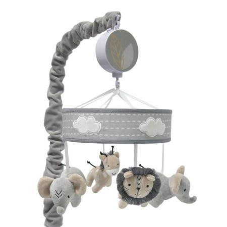 Lambs & Ivy Jungle Safari Musical Baby Crib Mobile - Gray, Beige, White, -