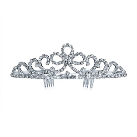 Headpiece Hair Accessories Crystal Royal Ribbon Bow Tiara For Women For Teen For Pageant For Prom For Bride
