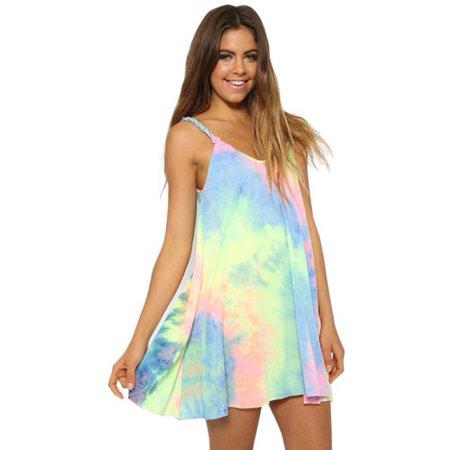 - Womens Sleeveless Tank Top Blouse Tee Shirt Strappy Summer Holiday Mini Dresses Beach Sundress Casual