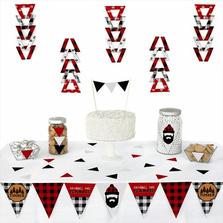 Lumberjack - Channel The Flannel - Triangle Buffalo Plaid Party Decoration Kit - 72 Piece