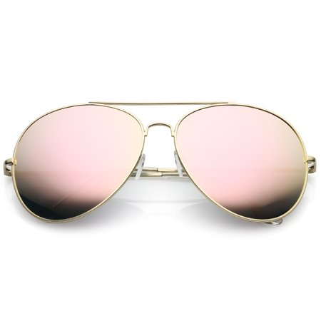 0fef61f9a339e sunglass.la - Women s Oversized Aviator Sunglasses Pink Mirrored Lens 65mm  (Gold   Pink Mirror) - Walmart.com
